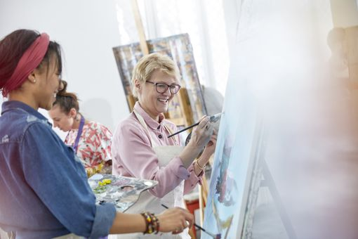 Artists Painting in Art Class Studio