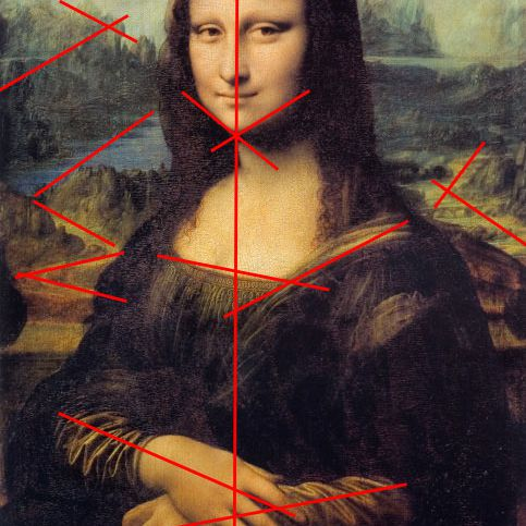 A photo of the Mona Lisa painting looking at its balance, one of the elements of composition.