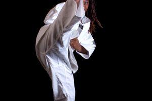 Girl practicing martial arts