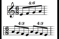 Quadruplets 4:3 and 4:6 in piano music.