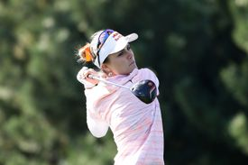 Lexi Thompson plays a tee shot on the 2nd hole during the second round of the 2017 LPGA KEB Hana Bank Championship