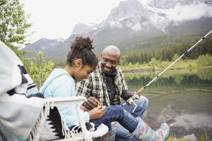 Father teaching daughter to fish at lakeside