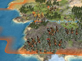 Overhead view of gameplay from Civilization IV