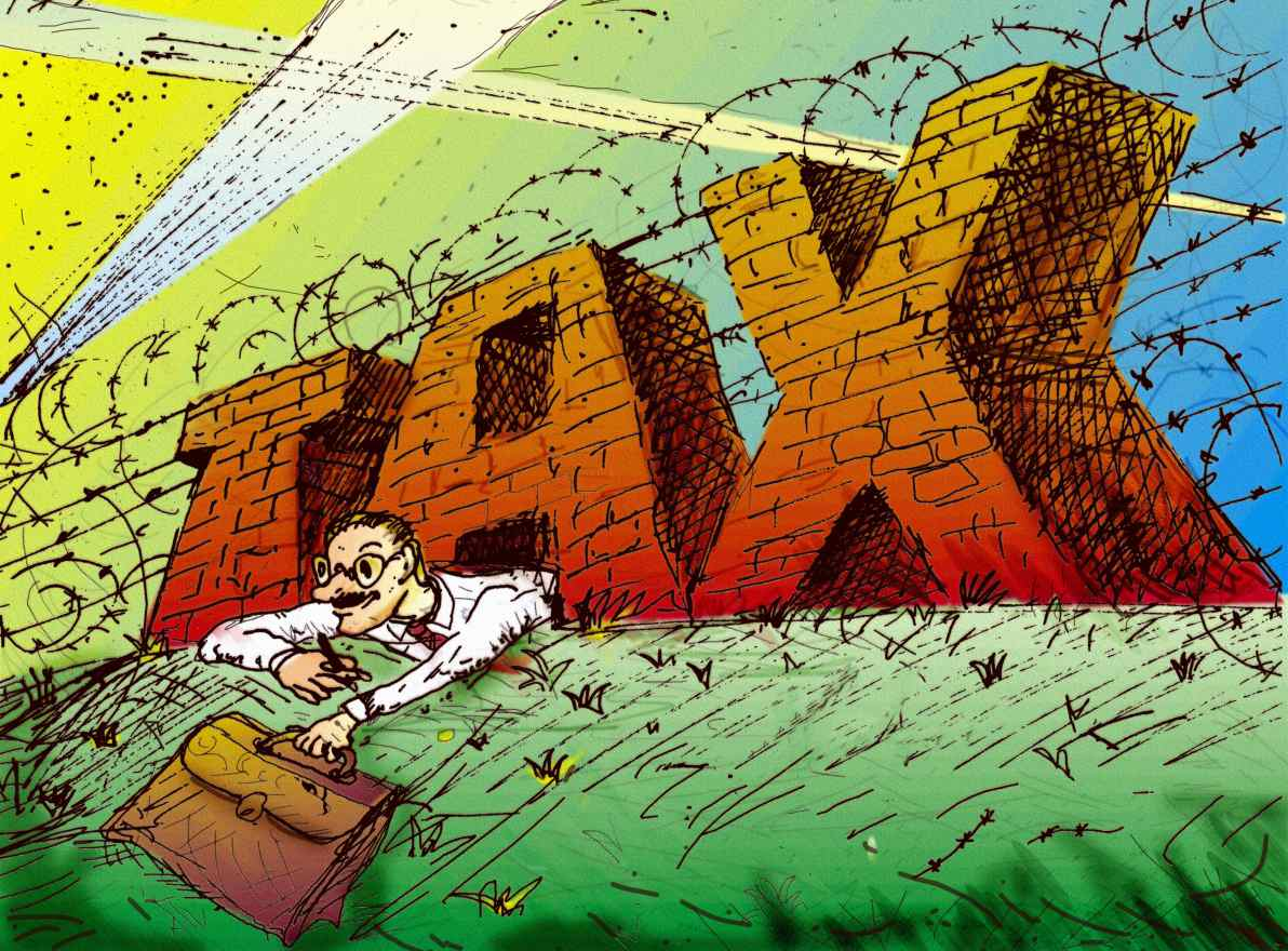 Image of a Man Crawling Out from Under Taxes