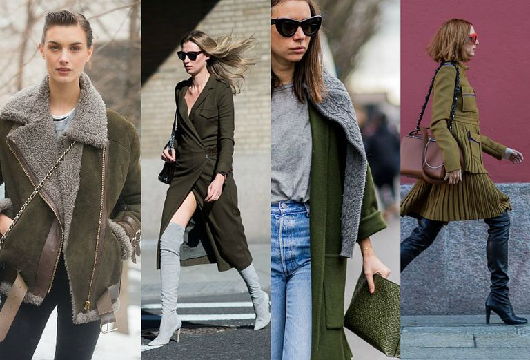 collage of women wearing olive green