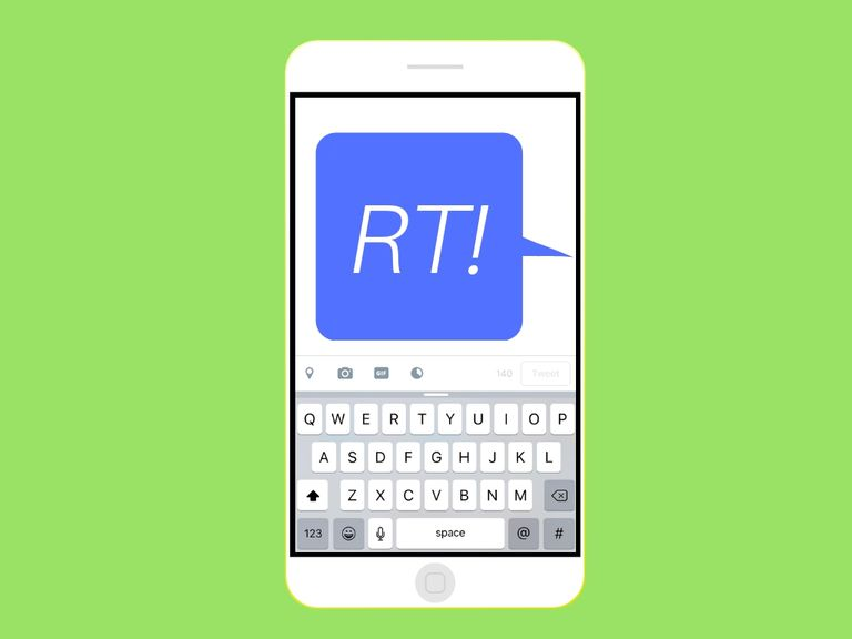 """An image graphic of a text message that says """"RT!"""" on a smartphone"""