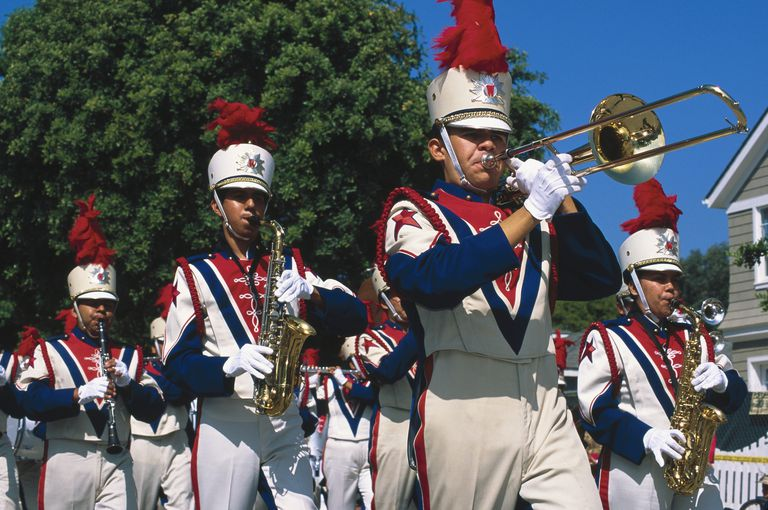 Marching band members in a parade