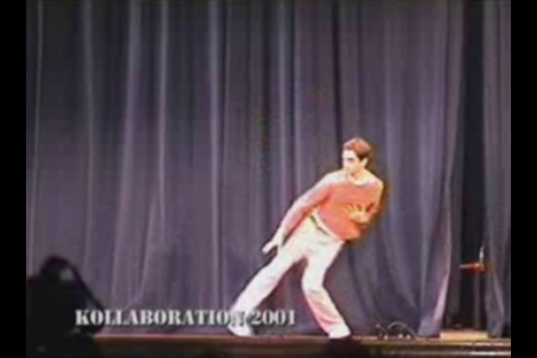 David Elsewhere breaking out his rubber man moves when breakdancing, which became a viral meme