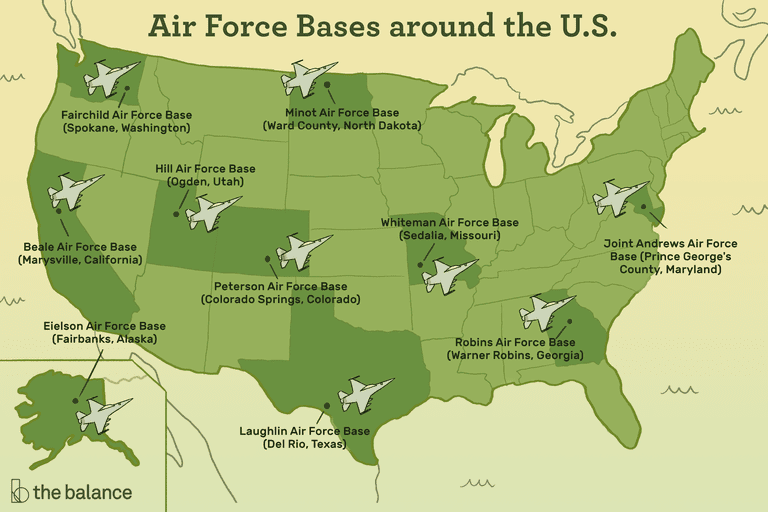 """Image shows a map of the US where the state are light green, and those with air force bases are dark green with fighter jets on top of them. Text reads: """"Air force bases around the U.S.""""Robins Air Force Base (Warner Robins, Georgia) Beale Air Force Base (Marysville, California) Laughlin Air Force Base (Del Rio, Texas) Peterson Air Force Base (Colorado Springs, Colorado) Eielson Air Force Base (Fairbanks, Alaska) Joint Andrews Air Force Base (Prince George's County, Maryland) Fairchild Air Force Base (Spokane, Washington) Whiteman Air Force Base (Sedalia, Missouri) Hill Air Force Base (Ogden, Utah) Minot Air Force Base (Ward County, North Dakota)"""""""