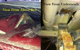 A damaged truck bed from a broken leaf spring shackle.