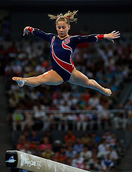 Shawn Johnson Gymnastics Leap Picture 2008 Olympics