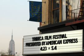Theater marquee from the 2008 edition of the Tribeca Film Festival in New York City