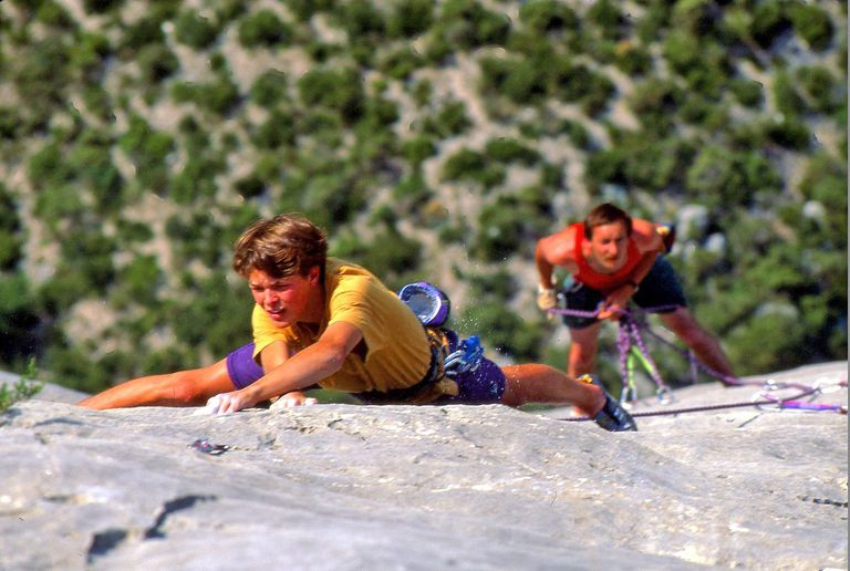 Ian Spencer-Green climbs Biscotte Margarine in the Verdon Gorge in France.