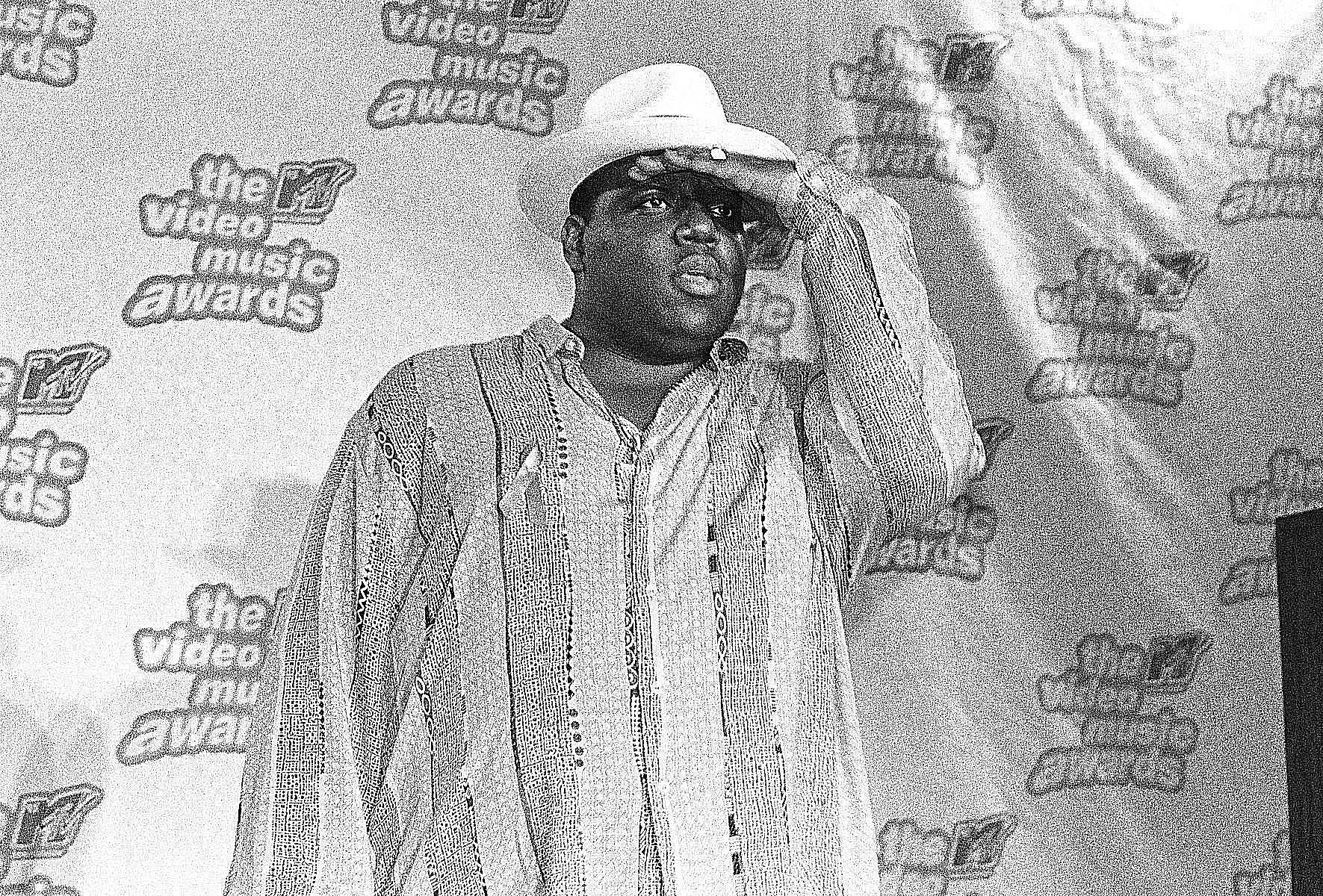 Biggie Smalls poses at the MTV video music awards