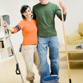 Couple Doing Chores Together