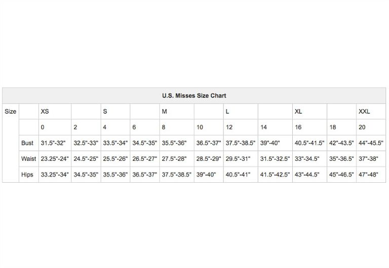 U S Misses Arel Size Chart