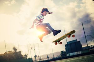 Young boy skateboarding