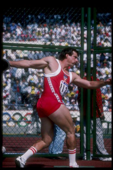 American Mac Wilkins competes at the 1988 Olympics.