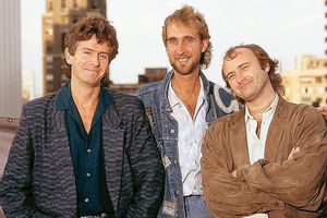Genesis in Chicago, United States, October 1986, from left to right: Tony Banks, Mike Rutherford, Phil Collins.