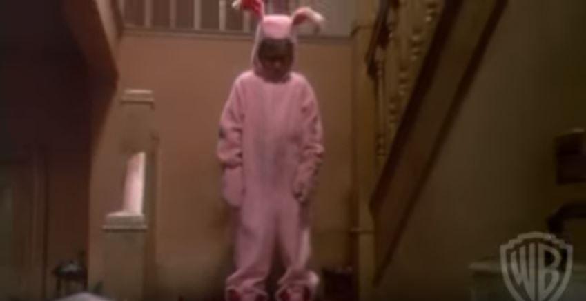 Ralphie wearing his bunny pajamas