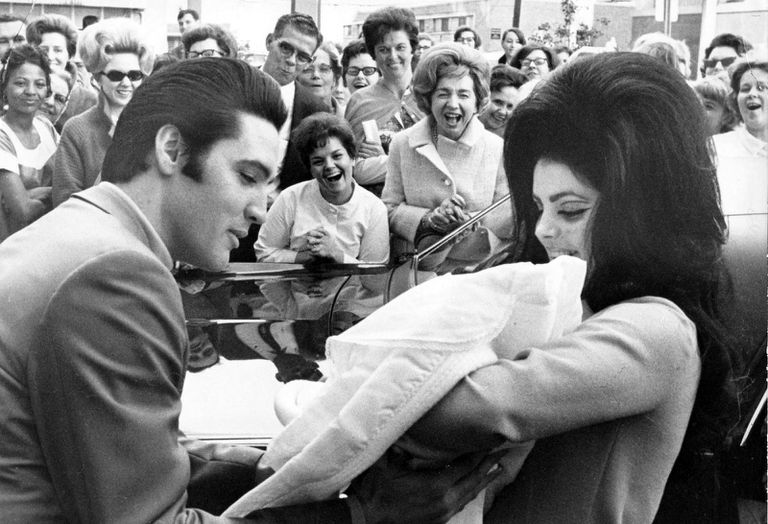 Elvis Presley and Priscilla with Lisa Marie, February 1968