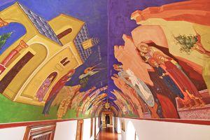 Cyprus, Troodos, Kykkos, Painted Mural in Kykkos Monastery
