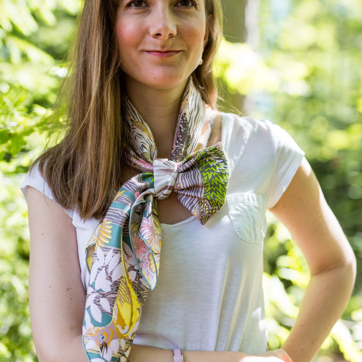 Silk square scarf outfit