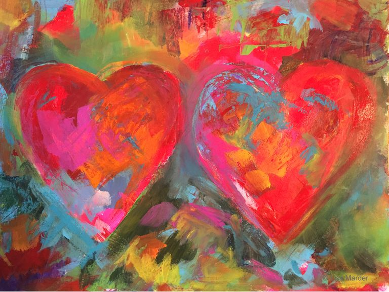 Painting of hearts inspired by Jim Dine by Lisa Marder
