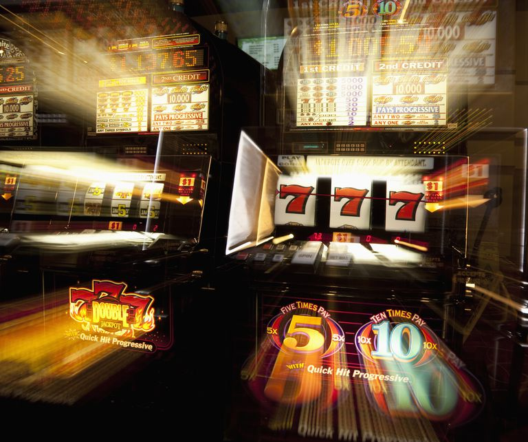 Casino slot machines glowing