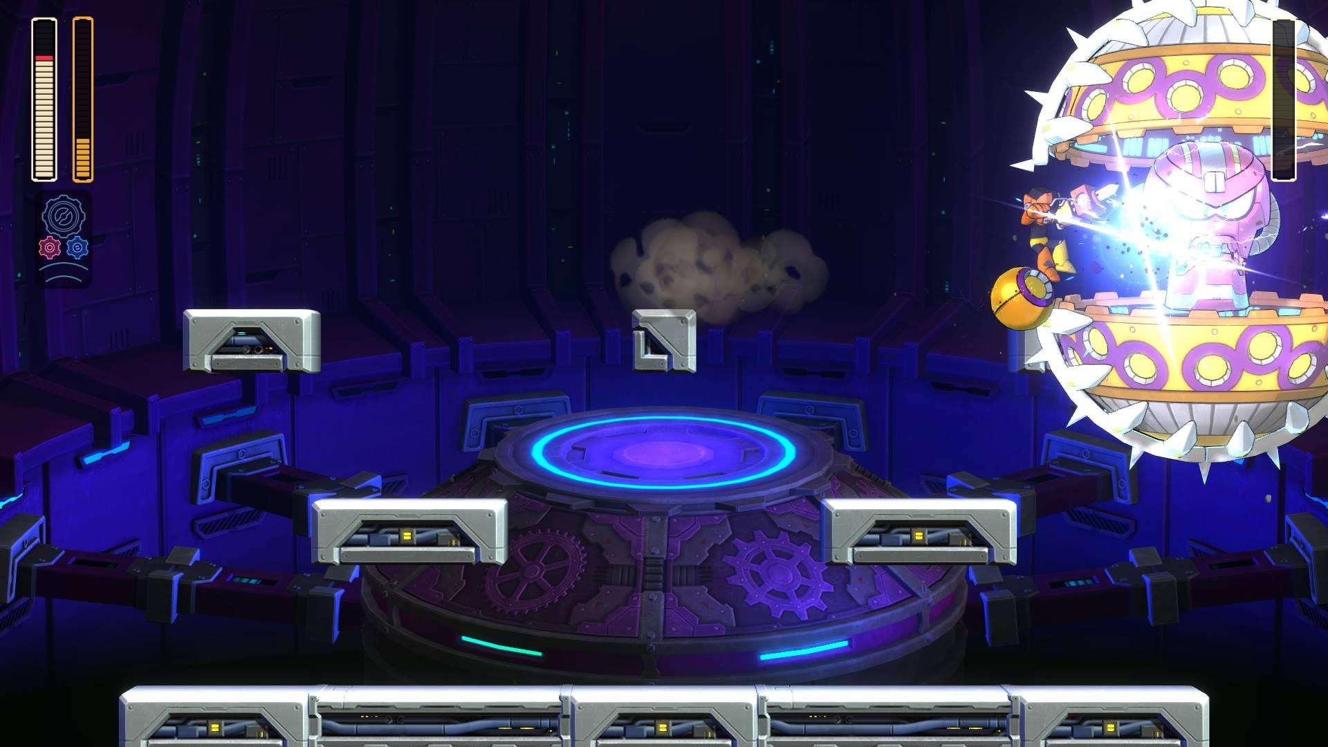 Mega Man attacks Mawverne in Mega Man 11