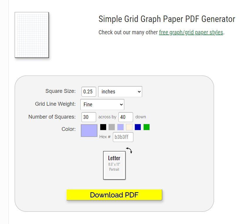 A PDF generator for graph paper