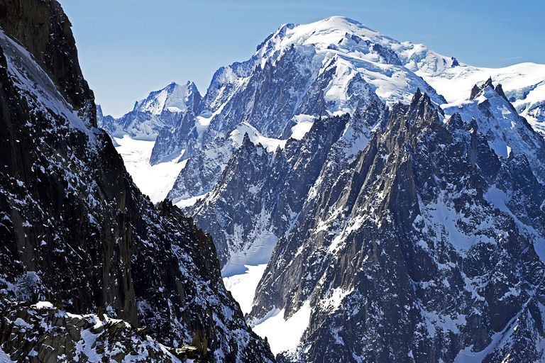Mont Blanc is easily climbed by experienced mountaineers.