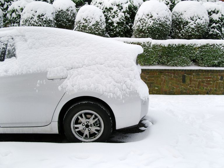 Car in a snowy environment