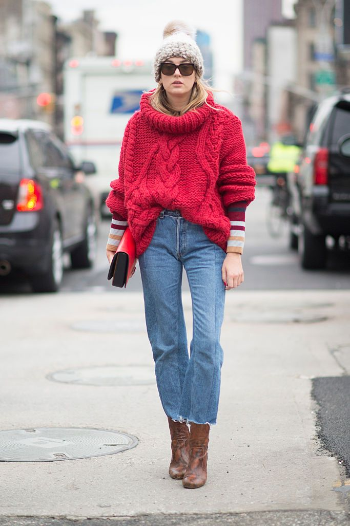 16c2057072 Red White and Blue Winter Outfit. Winter street style - chunky sweater and  jeans