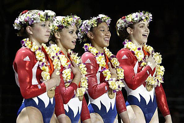 Carly Patterson, Alicia Sacramone, Allyse Ishino, and Katie Heenan at the 2004 Pacific Alliance