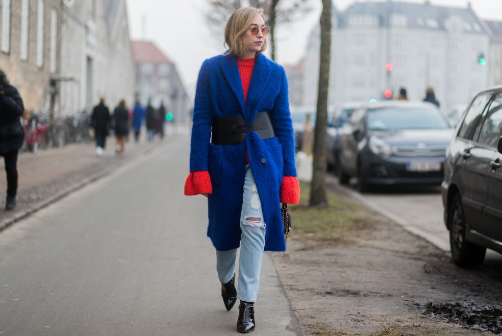 Street style blue coat and jeans