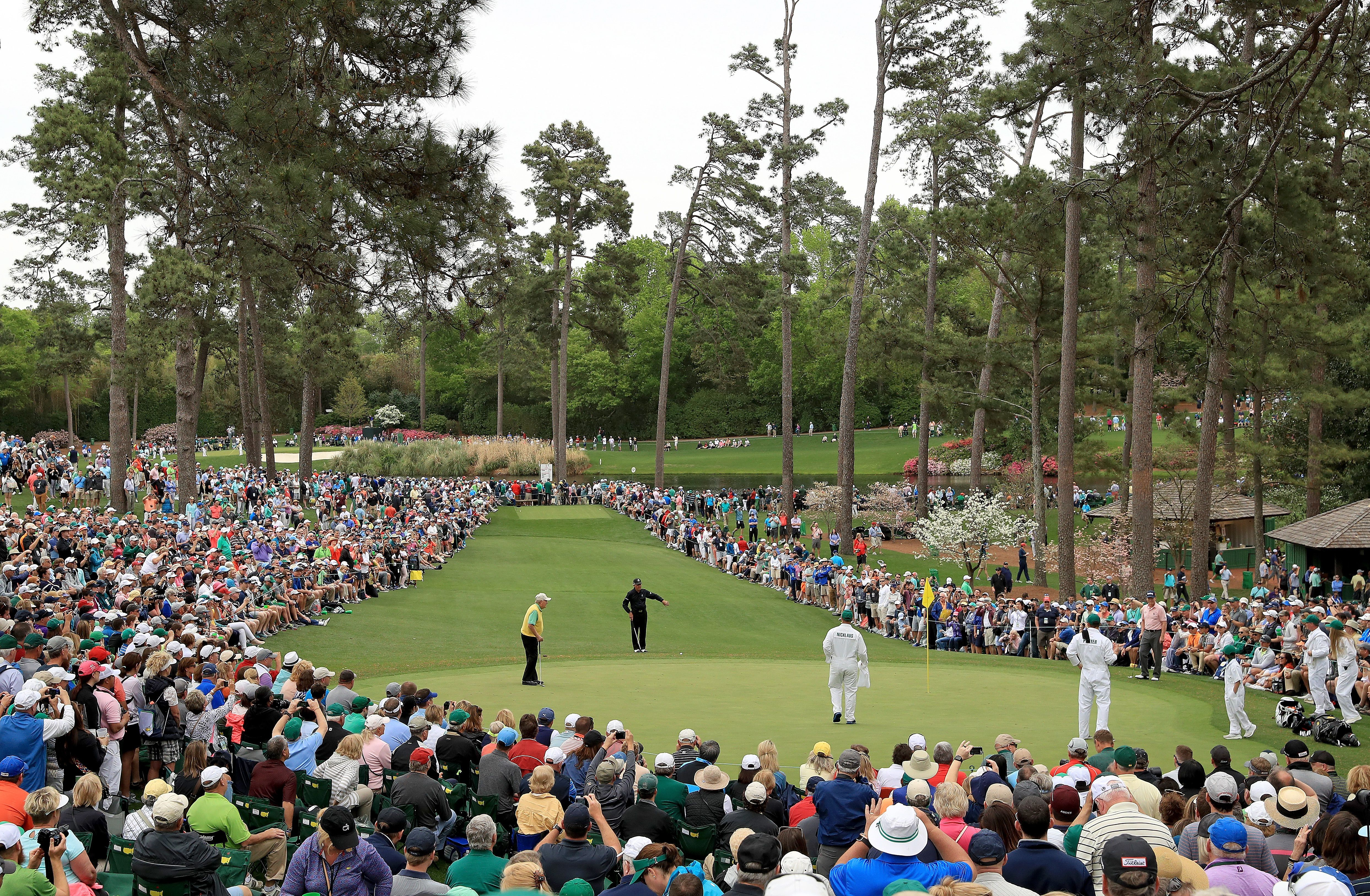 Jack Nicklaus, Gary Player, Tom Watson and their caddies on the 7th green of the Par-3 Course.