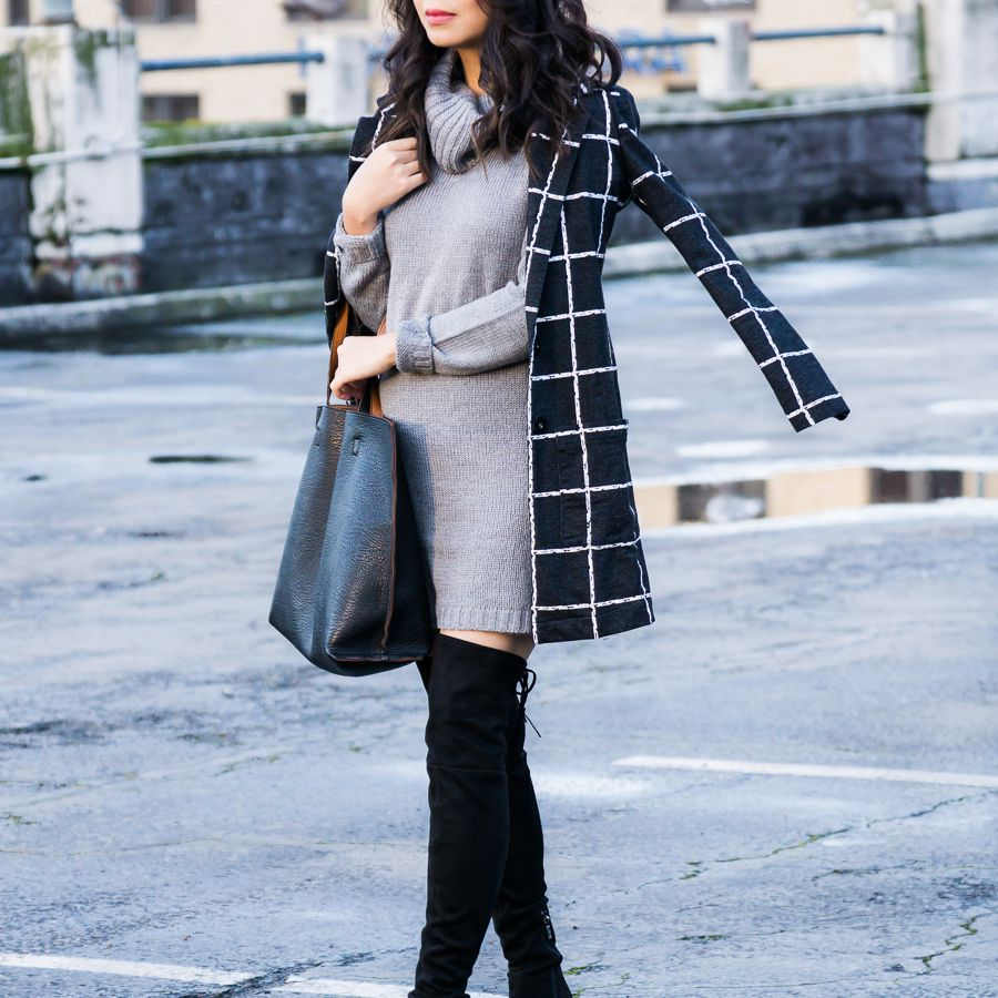 Woman Wearing Sweater Dress and Checked Coat and Tall Boots