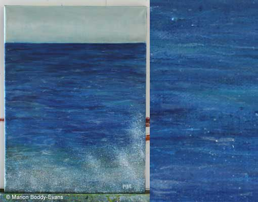 Photo of various blues used in painting the sea