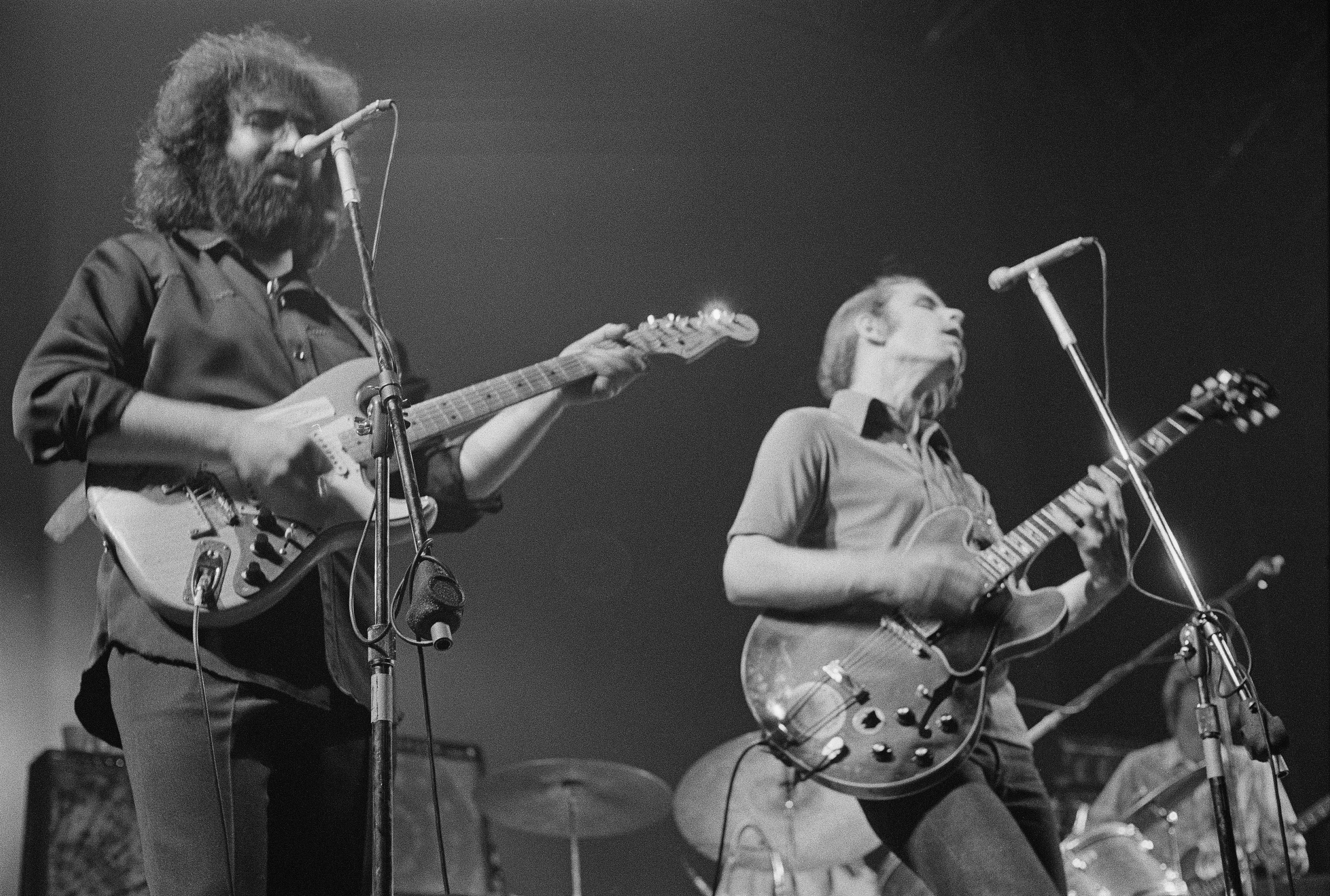 Jerry Garcia (left) and Bob Weir of The Grateful Dead, 1972