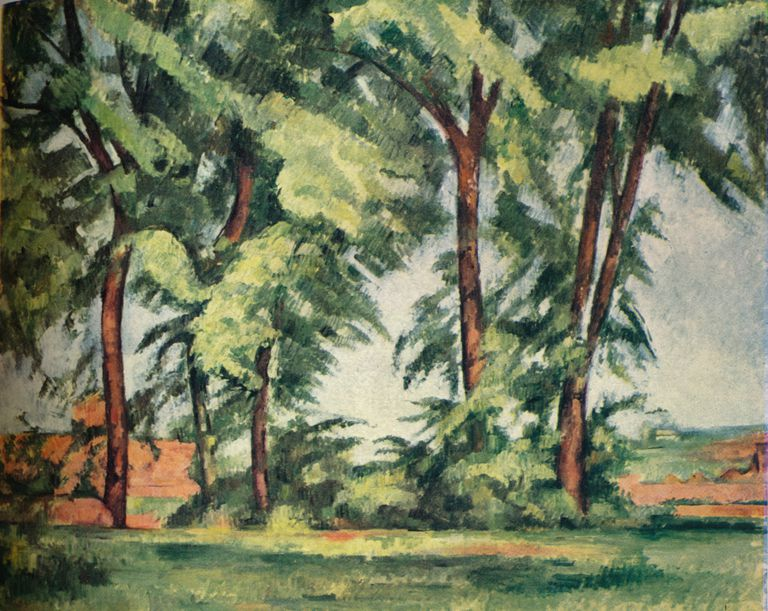 Painting by Cezanne, Tall Trees at the Jas de Bouffan, 1883