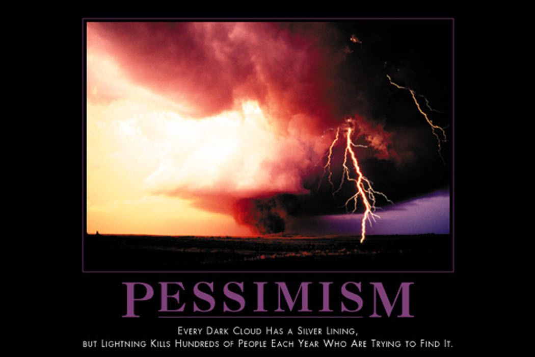 A demotivational poster about how lighting kills hundreds of people to illustrate pessimism.