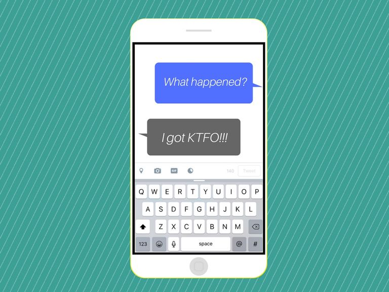 The acronym 'KTFO' in a cell phone message