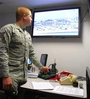 Senior Airman Jeffery Irwin 82nd Security Forces Squadron desk sergeant