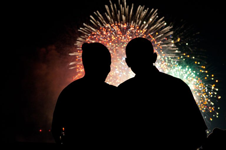 President Barack Obama and First Lady Michelle Obama watch the fireworks