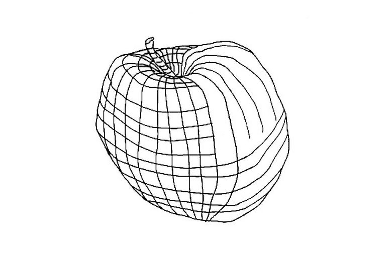 Contour drawing of an apple