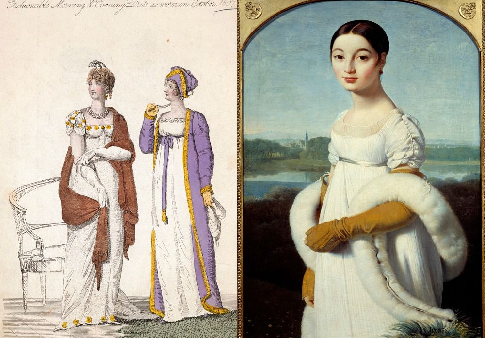 39faa72837f4 Fashionable Morning and Evening Dress as Worn in Portrait of Mademoiselle  Caroline Riviere by Jean-Auguste-Dominique IngresOctober, 1807  Illustration, 2.