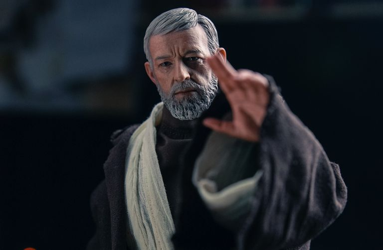 "Photographic portrait of Obi Wan Kenobi played by Alec Guinness in ""Star Wars Episode VI."""