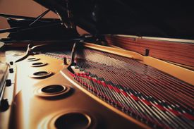 Close-Up Of Piano Strings
