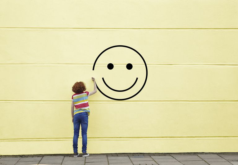 smiley face on wall